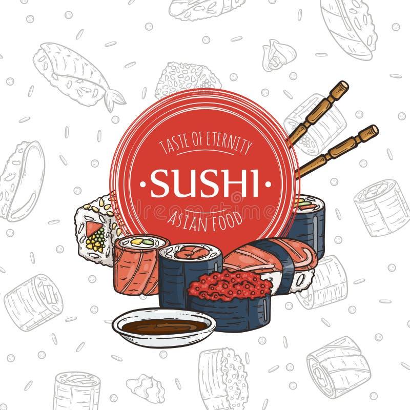 乱画寿司餐厅和交付设计模板 亚洲构成食物 向量例证