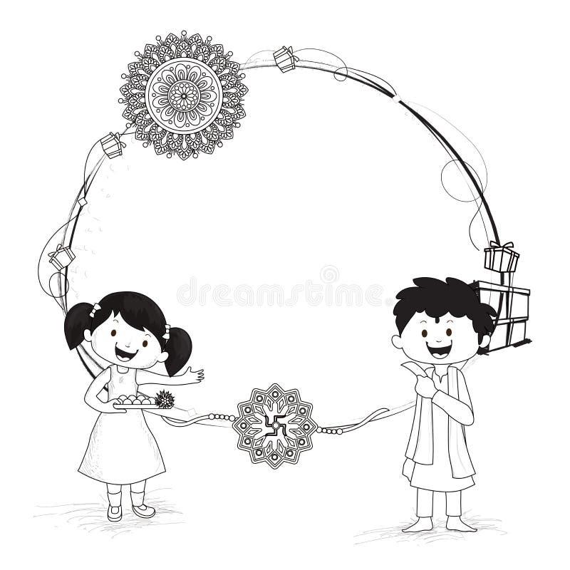 乱画庆祝Raksha bandha的兄弟和姐妹字符  库存例证