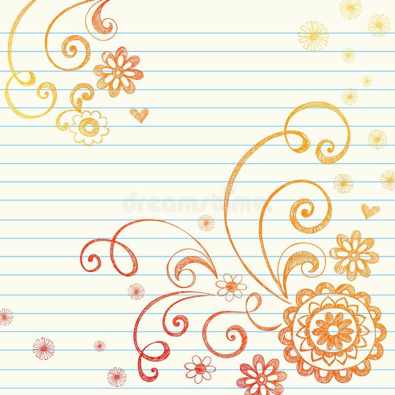 乱画开花图形笔记本纸张 皇族释放例证