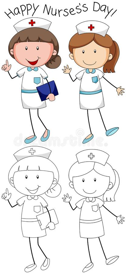 乱画愉快的护士的天 向量例证
