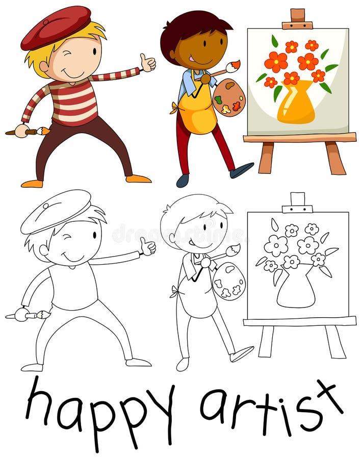 乱画愉快的艺术家字符 向量例证