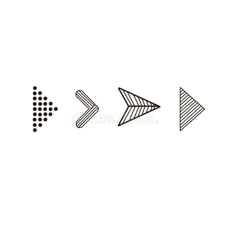 乱画手拉的传染媒介箭头 在白色背景的集合黑箭头 查出的向量例证 箭头象 库存例证