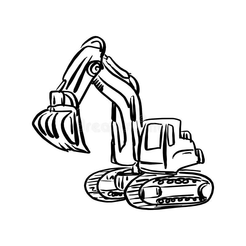 乱画挖掘机反向铲传染媒介例证剪影手拉的w 库存例证