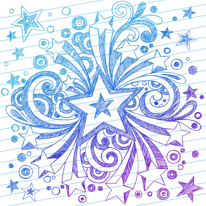 乱画排行了笔记本纸概略星形 向量例证