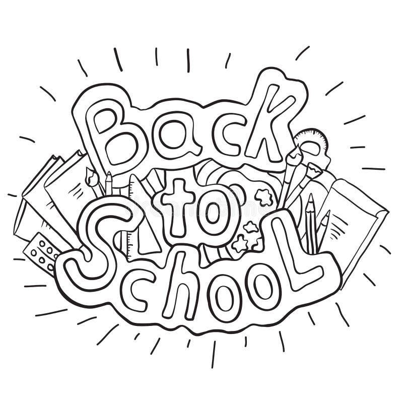 乱画文本回到有各种各样的学校用品的学校 皇族释放例证