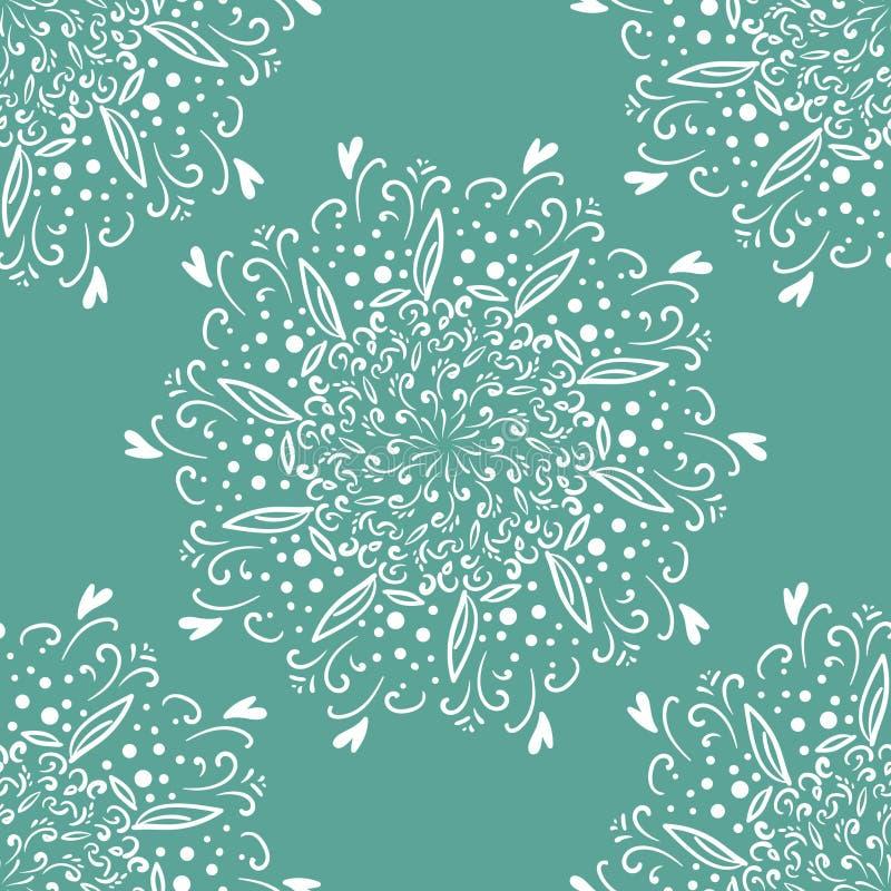 乱画无缝的样式 抽象东方坛场背景 墙纸、纺织品、织品和纸的葡萄酒交往 无缝 库存例证