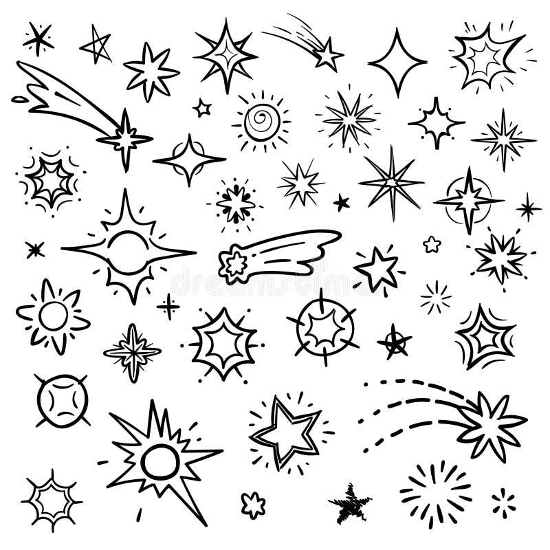 乱画星在白色隔绝的传染媒介集合 与星和彗星汇集的手拉的天空 库存例证