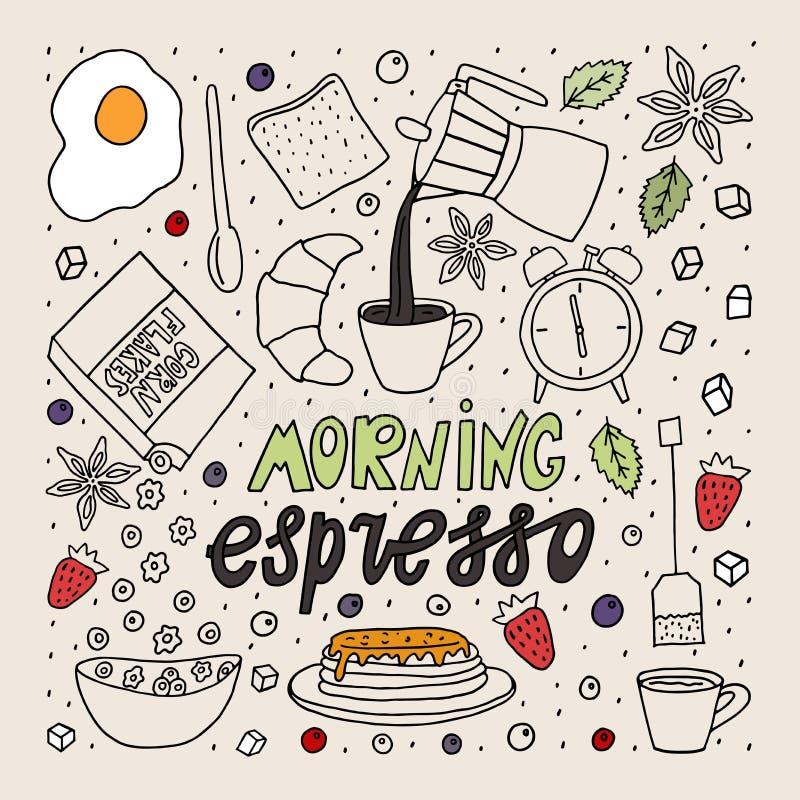 乱画样式剪影 早晨浓咖啡字法用食物和饮料 库存例证