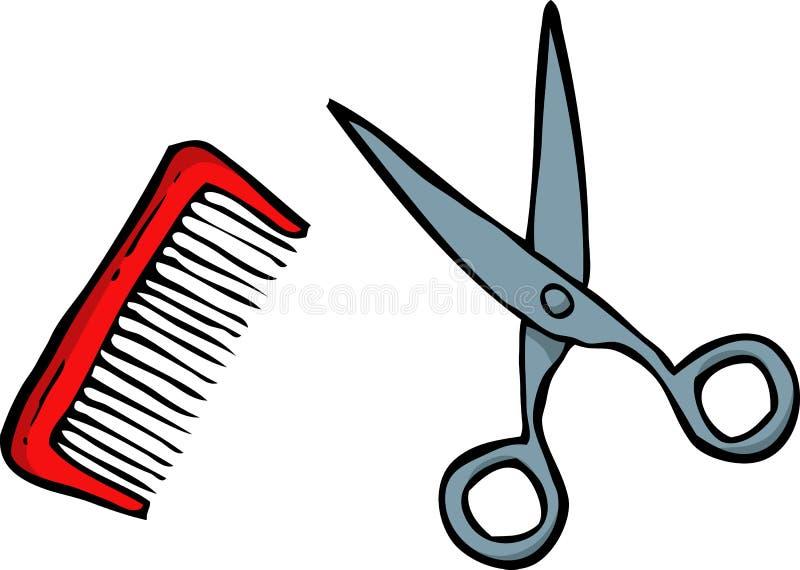 乱画梳子和剪刀 向量例证