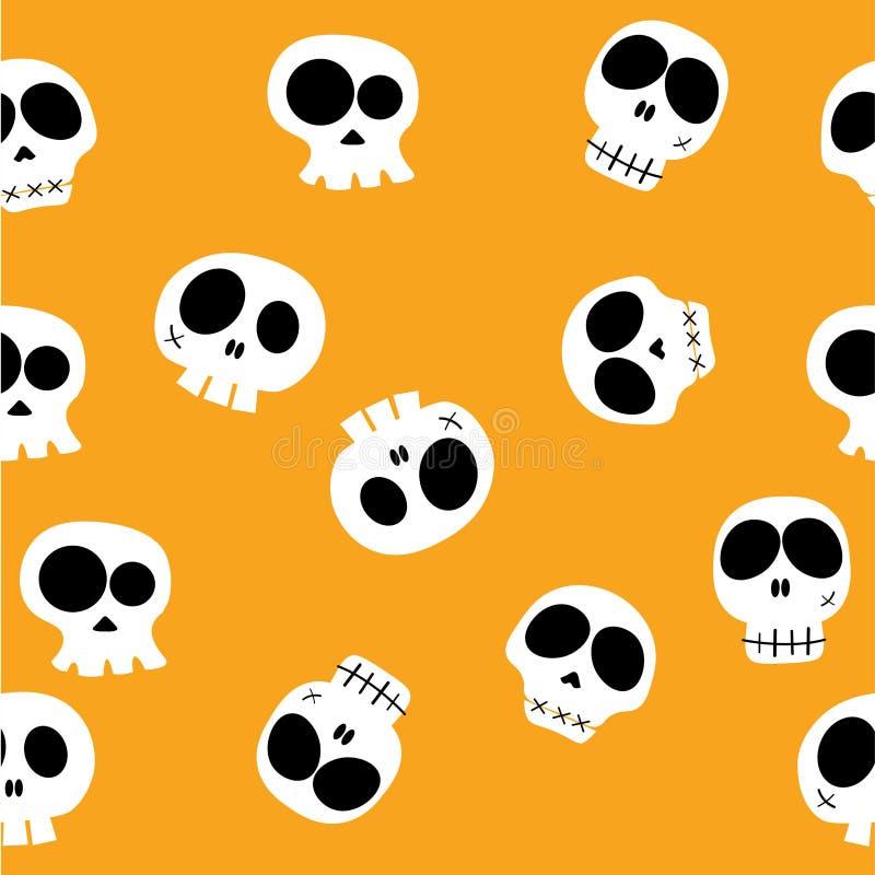 乱画滑稽的动画片头头骨用在黄色背景,样式无缝的背景的不同的字符 库存例证