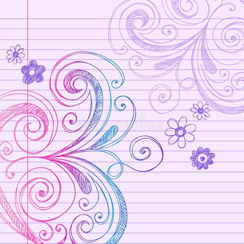 乱画笔记本纸概略向量 库存例证