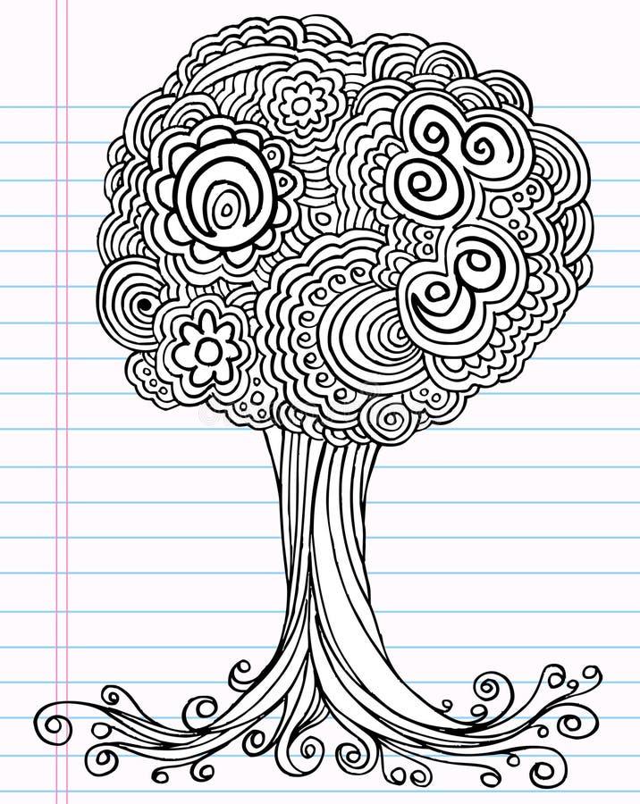 乱画笔记本草图结构树向量 向量例证