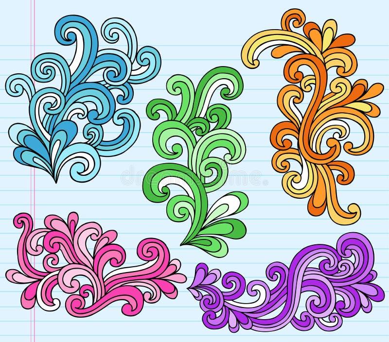 乱画笔记本荧光的集swirly向量 向量例证