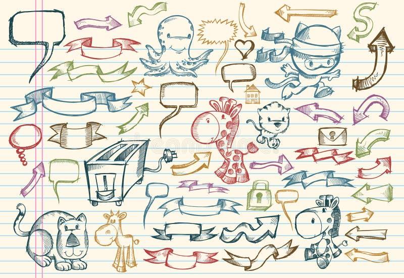 乱画笔记本集合草图向量 向量例证
