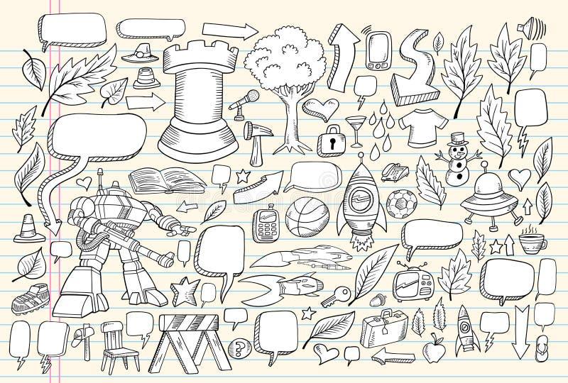 乱画笔记本集合草图向量 库存例证