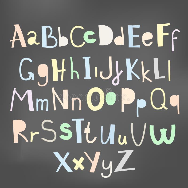 乱画简单的原始孩子字母表,传染媒介手拉的信件元素 库存例证