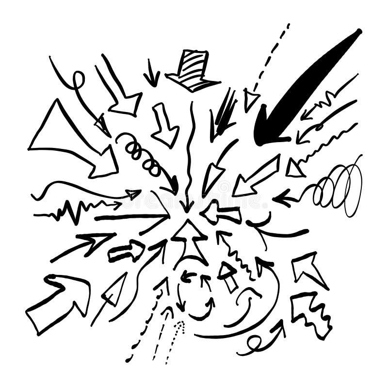 乱画箭头集合传染媒介例证剪影手拉与blac 皇族释放例证