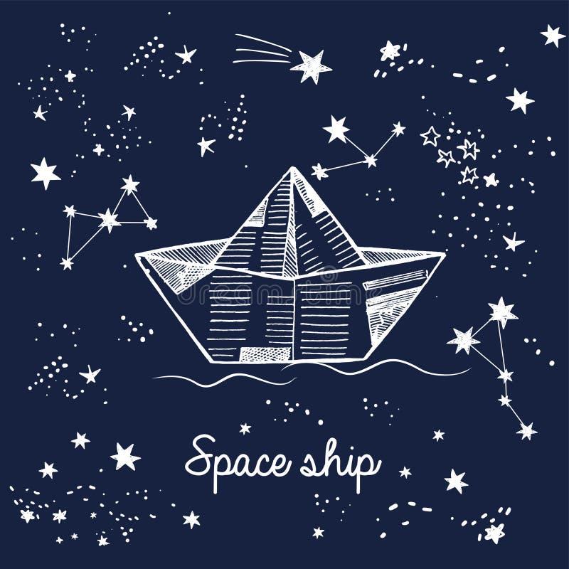 乱画纸在波斯菊在星中,与星座的不可思议的卡片的小船航行 皇族释放例证