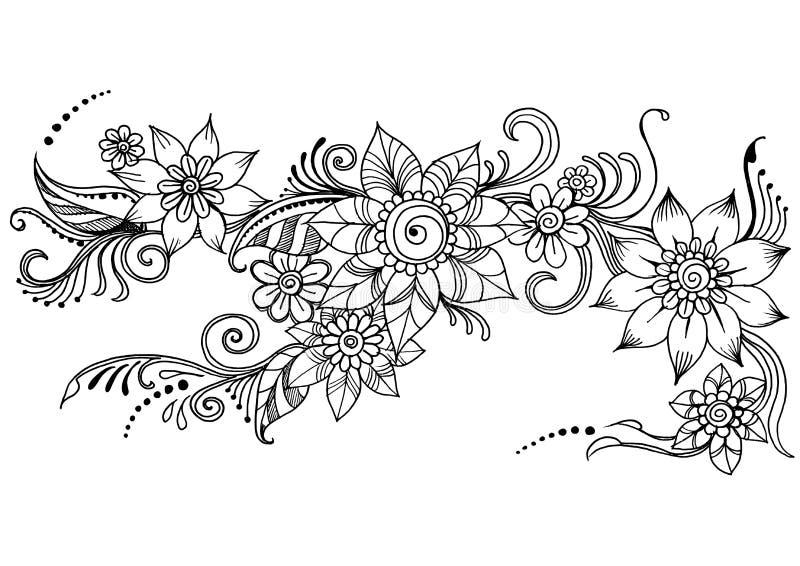 乱画艺术花, Zentangle摘要花 也corel凹道例证向量 库存例证