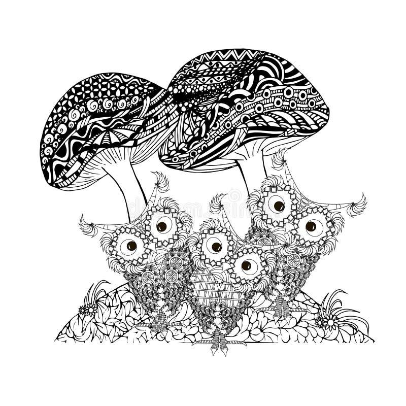 乱画蘑菇,在花框架单色剪影的猫头鹰,上色页antistress 库存例证