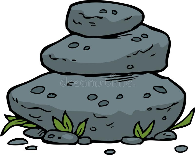 乱画被堆积的石头 库存例证