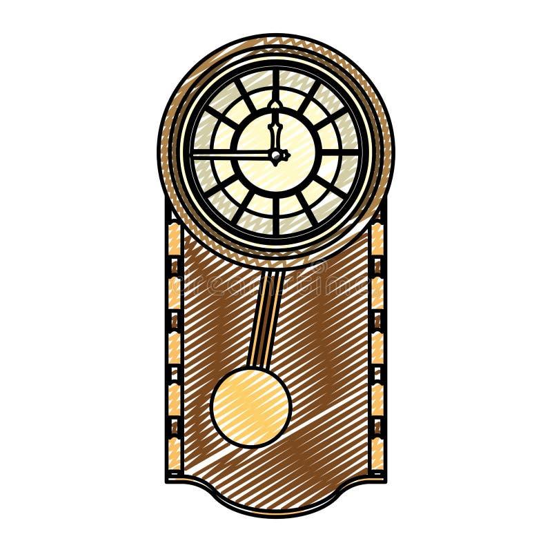 乱画触毛橡木壁钟设计 库存例证