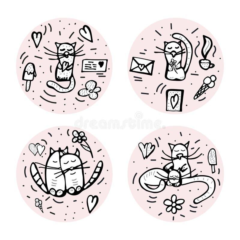 乱画设置与逗人喜爱的爱标志 也corel凹道例证向量 向量例证