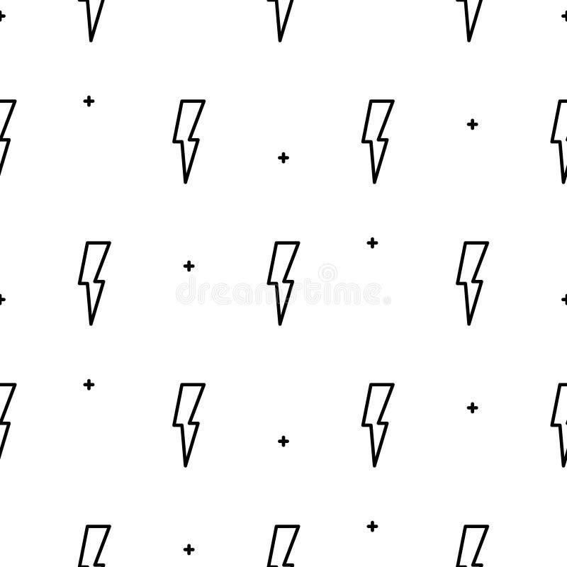 乱画闪电无缝的传染媒介样式 向量例证