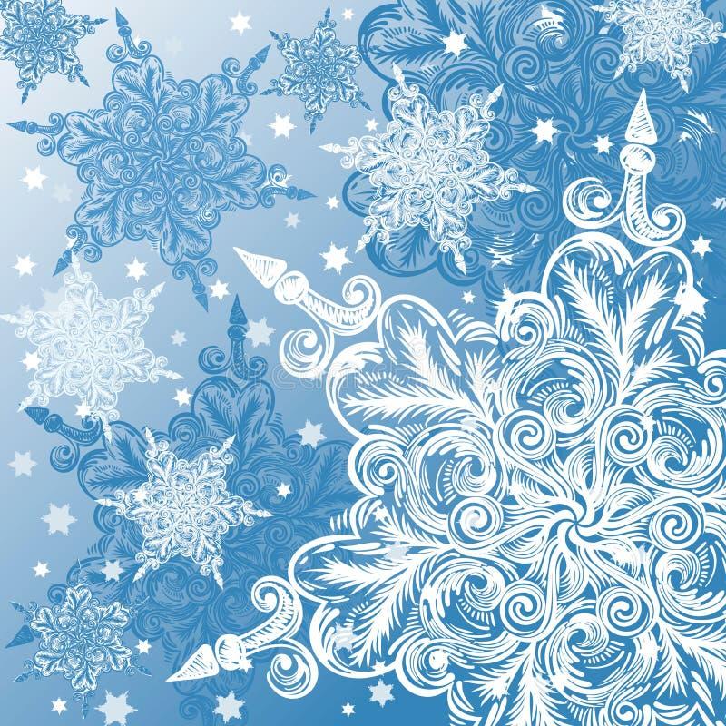 乱画雪花圣诞节背景 向量例证