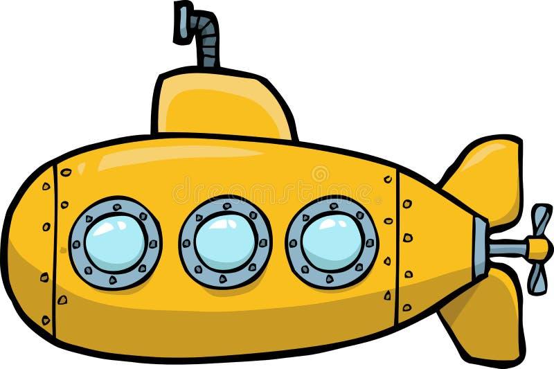乱画黄色潜水艇 向量例证