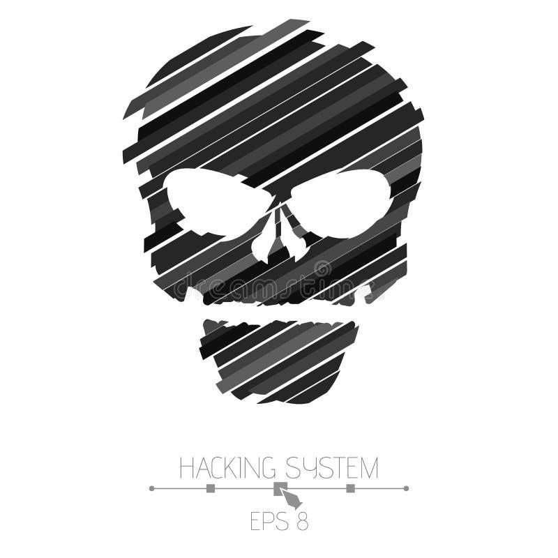 乱砍乱砍系统 在白色背景的头骨标志 从黑小条的被毁坏的头骨 破坏的作用 Ab 向量例证