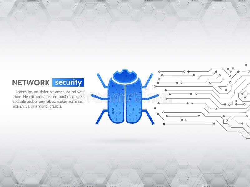 乱砍和网络罪行 个人数据保密概念 有黑客臭虫的抽象高科技电路板 向量例证