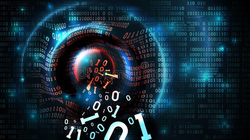 乱砍抽象数据库,防火墙,计算机互联网服务器,人脉帐户,数据偷窃  数据流,二进制编码 库存例证