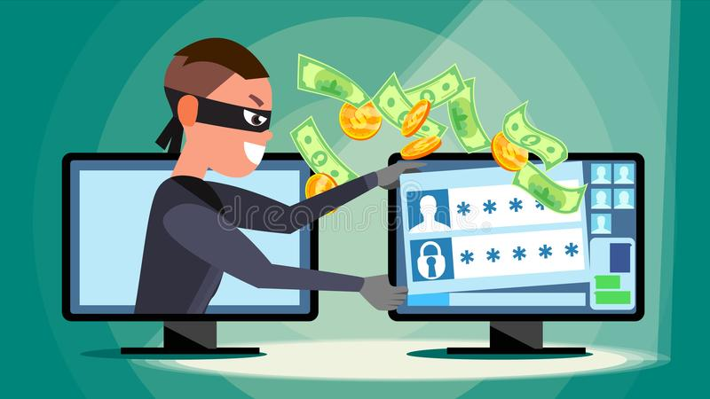 乱砍概念传染媒介 使用个人计算机的窃取的信用卡信息,个人数据,金钱的黑客 网络 向量例证