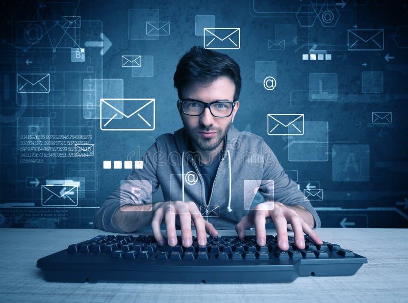 乱砍电子邮件密码概念的入侵者 图库摄影
