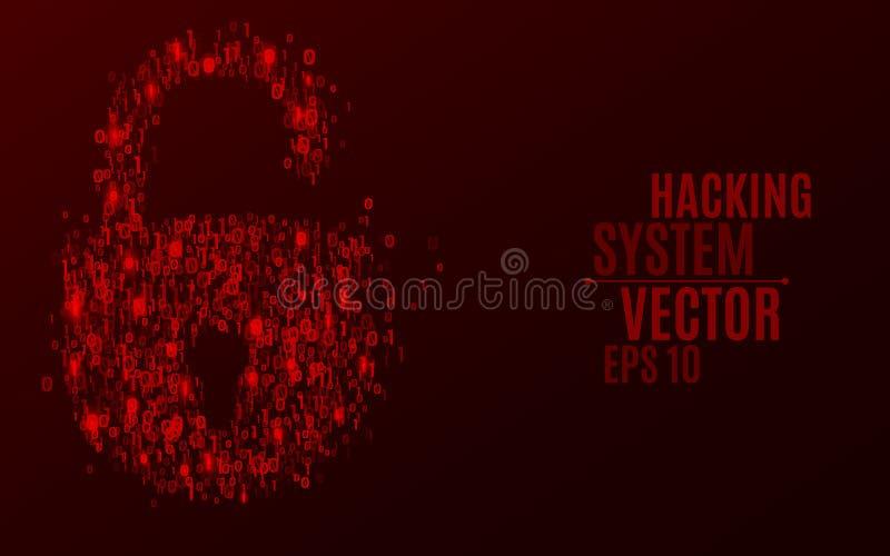 乱砍系统 从二进制编码的一把抽象锁 发光的第0和1是红色的 编程在设计 分散的图 库存例证