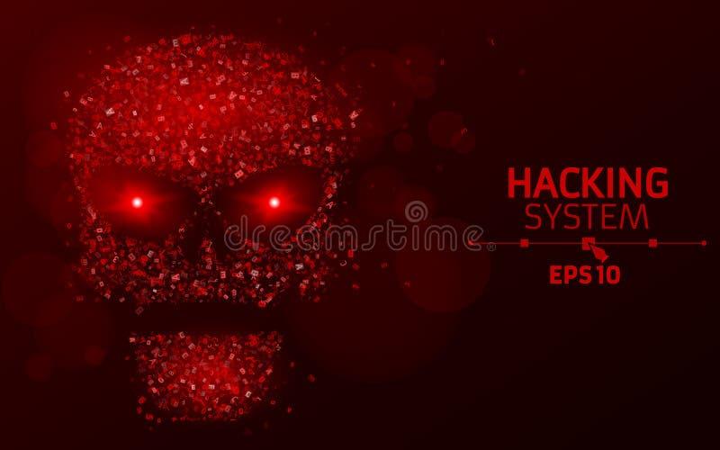 乱砍系统 红颜色的抽象,光亮头骨从编程的标志的 燃烧的霓虹眼睛 数据在威胁外 Vecto 皇族释放例证