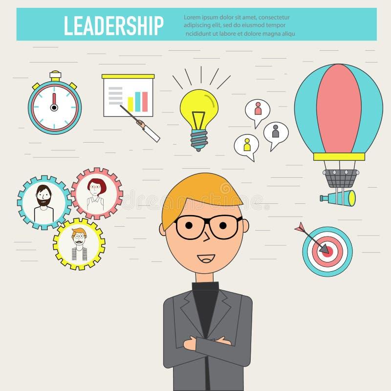 乱画企业与商人传染媒介的领导概念 illu 向量例证