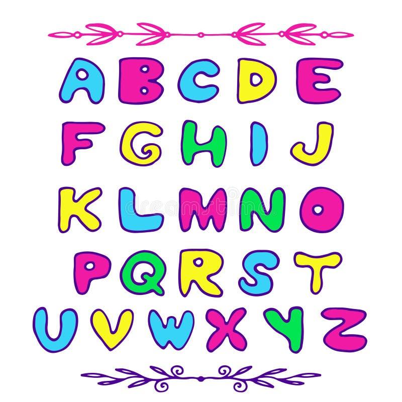 乱画传染媒介ABC信件 您的设计的手拉的字体 皇族释放例证