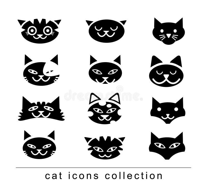 乱画动画片猫集合例证,传染媒介 库存例证
