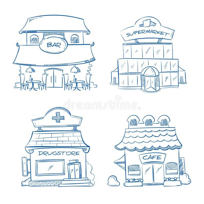 乱画商店,酒吧,咖啡馆,购物中心,药房大厦门面  手拉的向量例证 库存例证