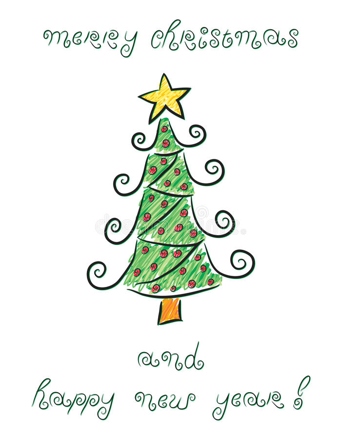 乱画圣诞树 向量例证