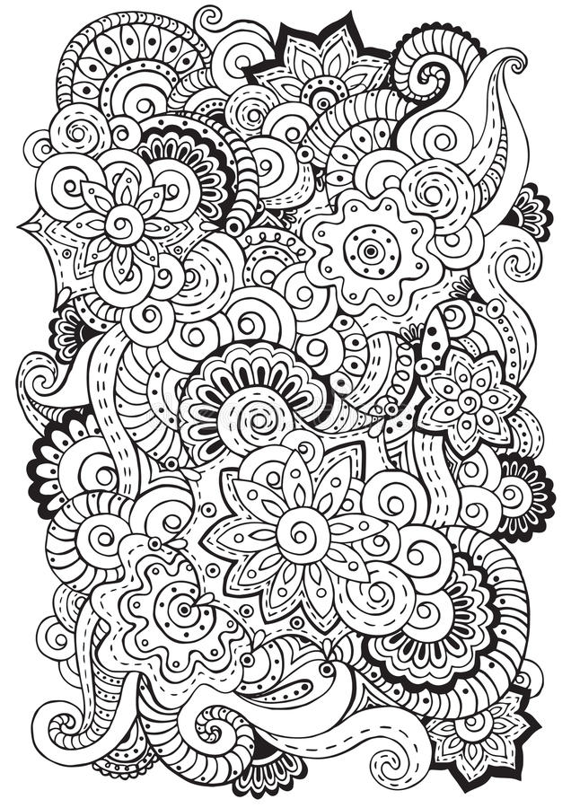 乱画在传染媒介与花,佩兹利的背景 黑色白色 皇族释放例证