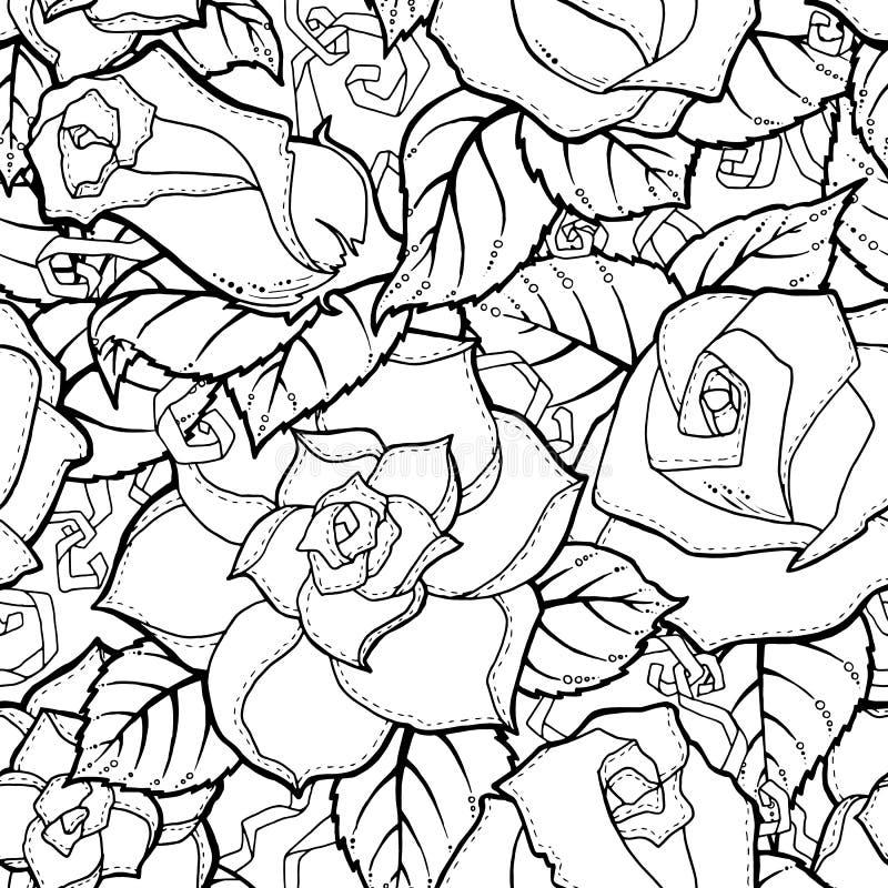 乱画在传染媒介的无缝的背景与乱画、花和佩兹利 向量例证