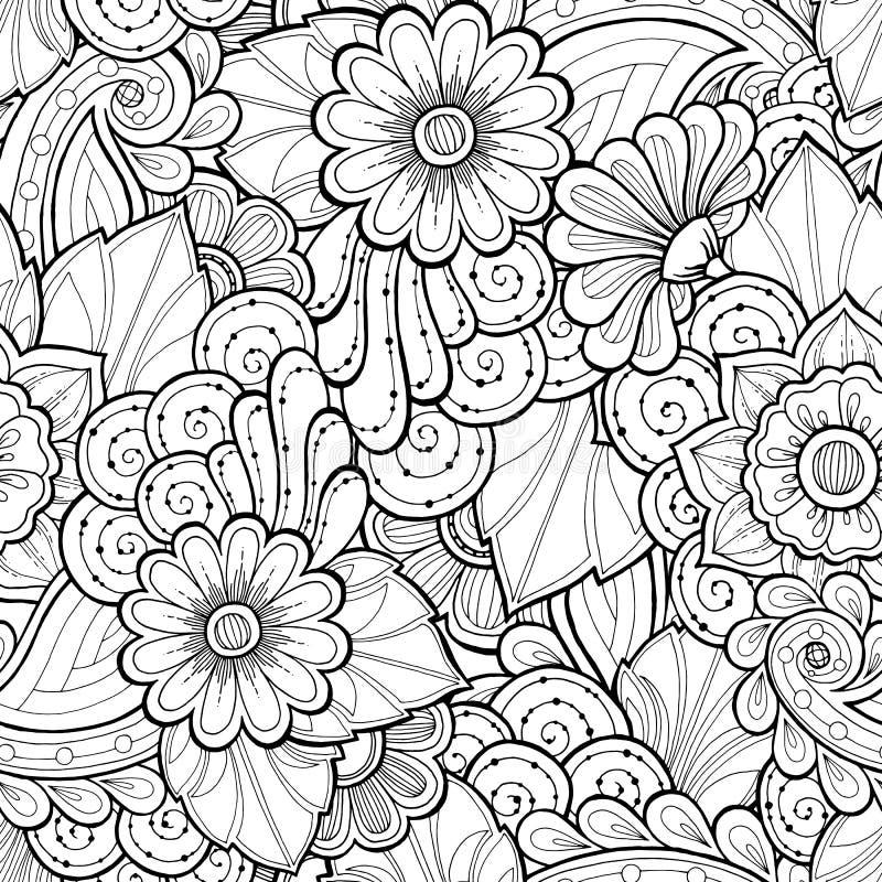 乱画在传染媒介的无缝的背景与乱画、花和佩兹利 库存例证