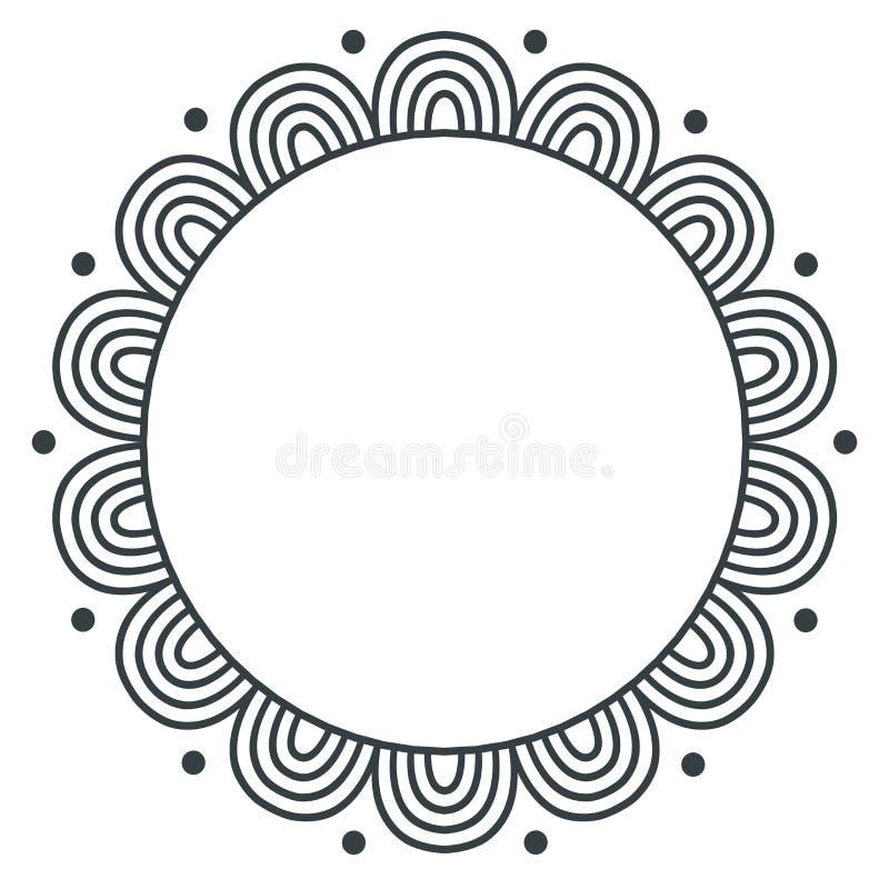 乱画在白色背景的zentangle单色传染媒介框架 向量例证
