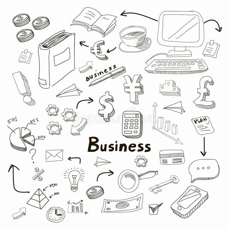 乱画在黑板传染媒介设置的企业图 向量例证