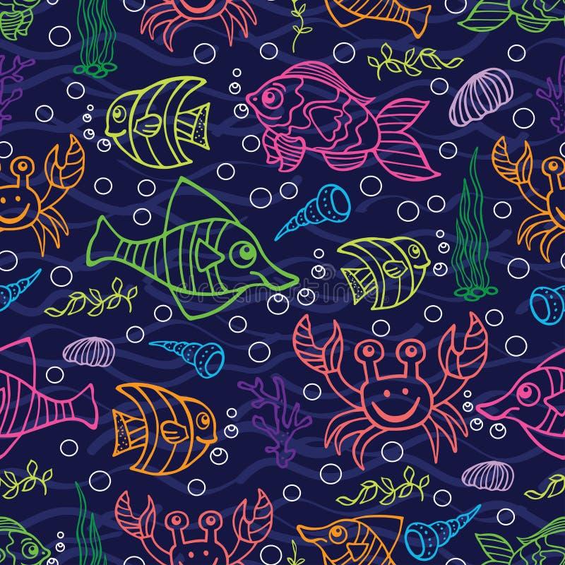乱画无缝的样式 泡影复制鱼例证生活海运海草空间文本向量 皇族释放例证