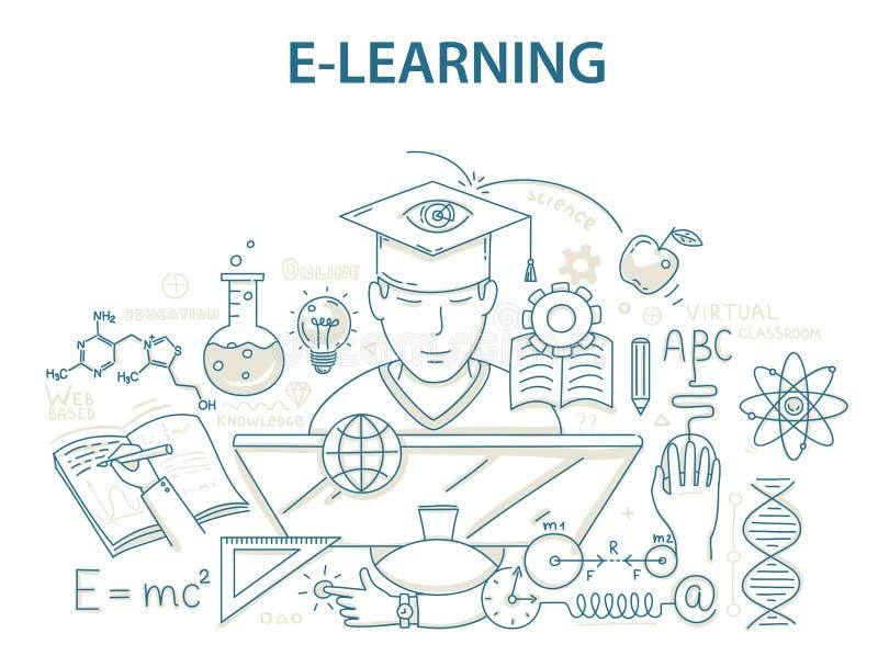 乱画样式电子教学和网上教育的设计观念 向量例证