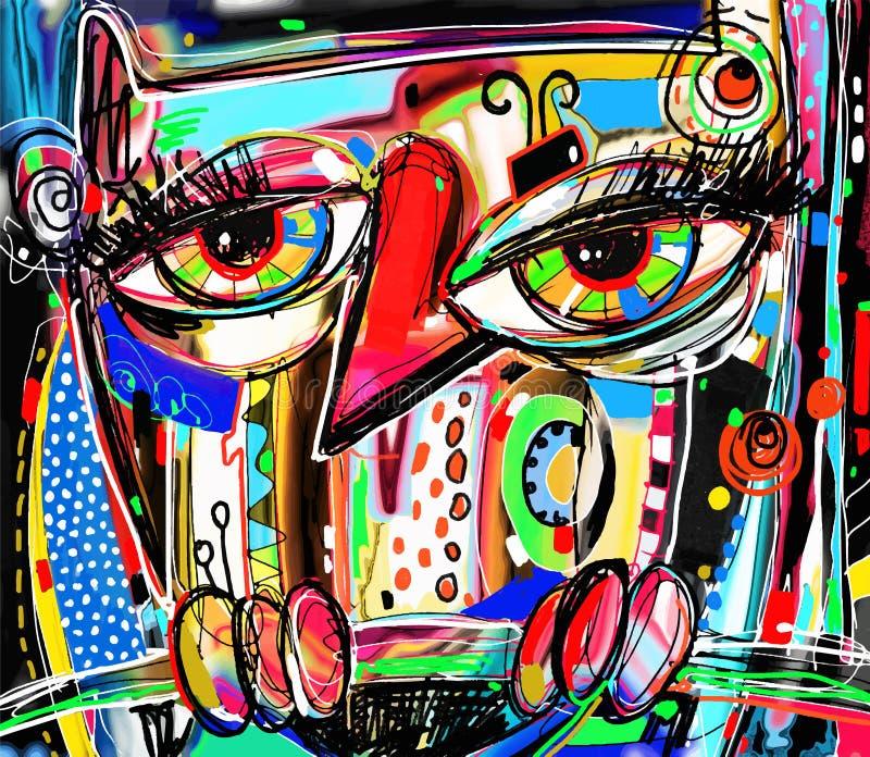 乱画猫头鹰原始的抽象数字式绘画艺术品  向量例证
